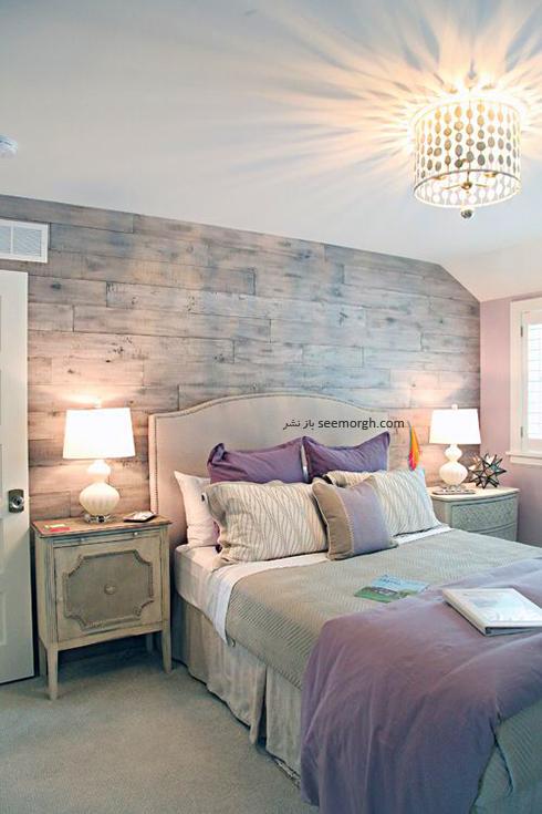 ترکیب رنگی روتختی یاسی و زمینه سفید – طوسی برای دکوراسیون داخلی اتاق خواب