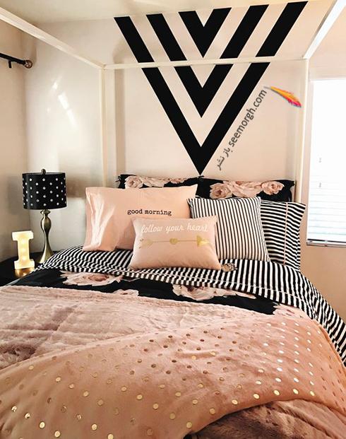 ترکیب رنگی روتختی گلبهی و زمینه سفید - مشکی در دکوراسیون داخلی اتاق خواب - عکس شماره 1