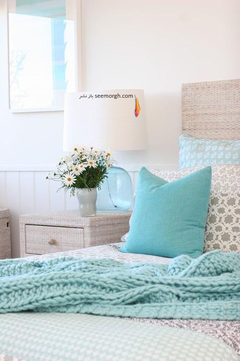 ترکیب رنگی روتختی آبی و زمینه سفید – طوسی برای دکوراسیون داخلی اتاق خواب عکس شماره 1