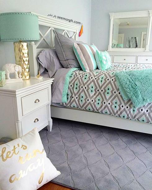 ترکیب رنگی روتختی آبی و زمینه سفید – طوسی برای دکوراسیون داخلی اتاق خواب عکس شماره 2