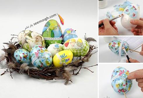 تزیین تخم مرغ سفره هفت سین با پارچه - مدل شماره 2