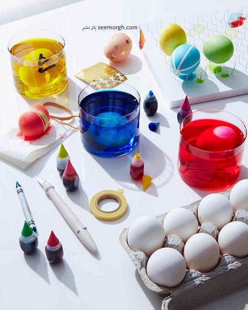 مرحله دوم تزیین تخم مرغ سفره هفت سین با آبرنگ و گواش