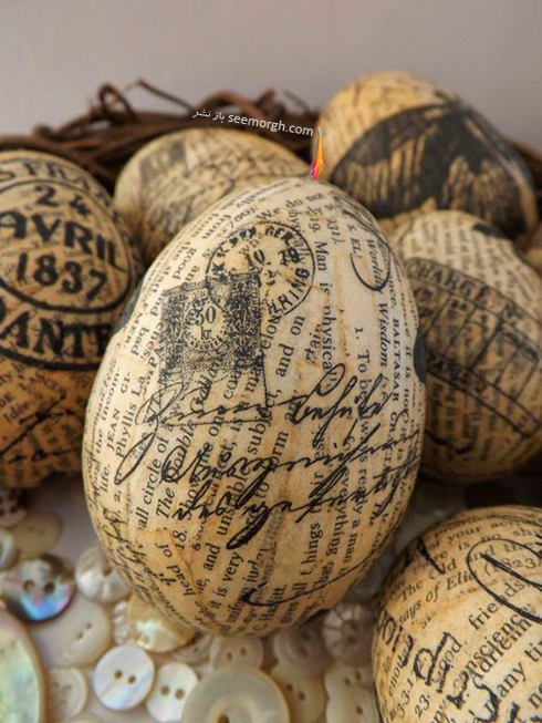 تزیین تخم مرغ سفره هفت سین با روزنامه - مدل شماره 4