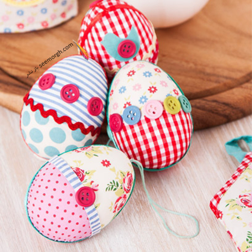 تزیین تخم مرغ سفره هفت سین با پارچه - مدل شماره 3