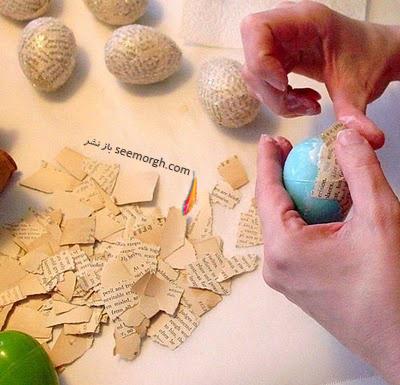 تزیین تخم مرغ سفره هفت سین با روزنامه - مدل شماره 1
