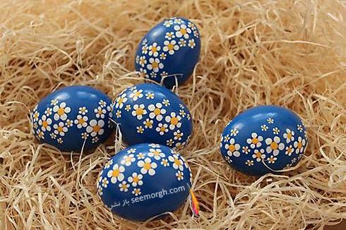 تزیین تخم مرغ سفره هفت سین با گل های بهاری  - مدل شماره 1