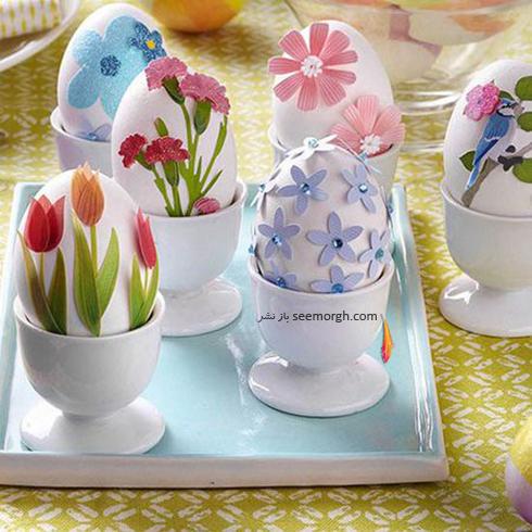 تزیین تخم مرغ سفره هفت سین با گل های بهاری  - مدل شماره 2