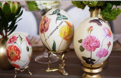 تزیین تخم مرغ سفره هفت سین با گل های بهاری  - مدل شماره 7