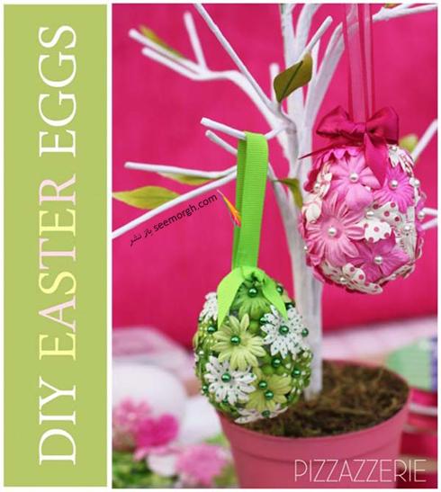 تزیین تخم مرغ سفره هفت سین با گل های بهاری  - مدل شماره 6