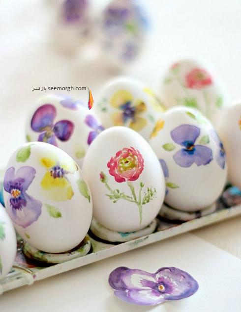 تزیین تخم مرغ سفره هفت سین با گل های بهاری  - مدل شماره 5