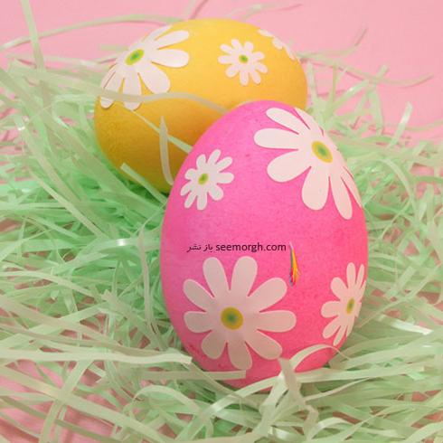 تزیین تخم مرغ سفره هفت سین با گل های بهاری  - مدل شماره 4