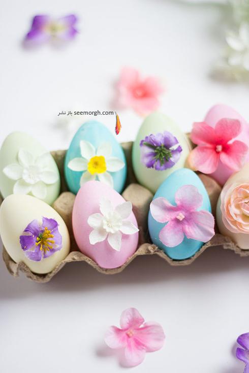 تزیین تخم مرغ سفره هفت سین با گل های بهاری  - مدل شماره 3