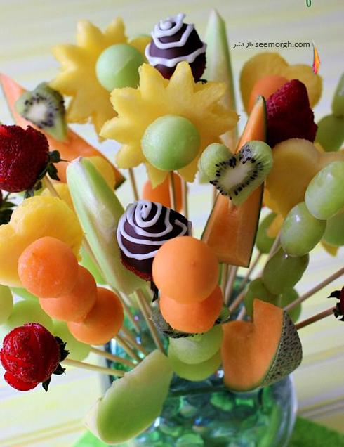 تزیین میوه شب یلدا با سیخ های چوبی - مدل شماره 5