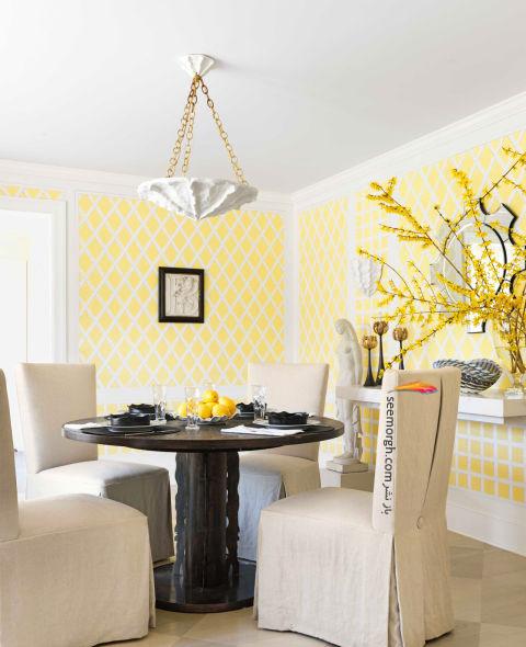 دکوراسیون اتاق ناهار خوری با ترکیب رنگی زرد و سفید