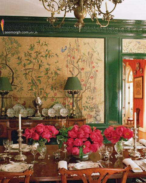 دکوراسیون اتاق ناهار خوری به رنگ سبز پر رنگ