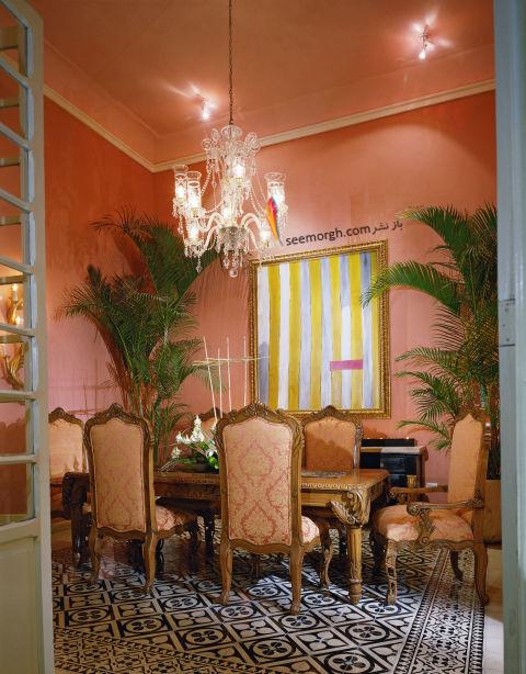 دکوراسیون اتاق ناهار خوری به رنگ گلبهی