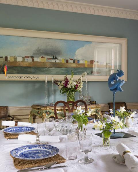 دکوراسیون اتاق ناهار خوری به رنگ آبی روشن