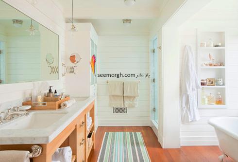 دیوار حمام را با یک قفسه ساده تزیین کنید