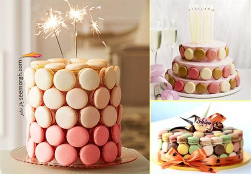 کیک,تزیین کیک,مدل های تزیین کیک,تزیین کیک با شکلات های شیرینی های ماکارون