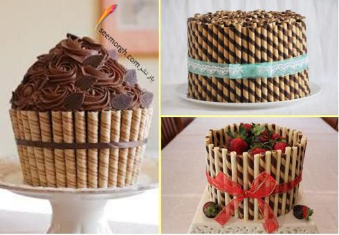 تزیین کیک با بیسکویت های رولی و توت فرنگی,کیک,تزیین کیک,مدل های تزیین کیک,
