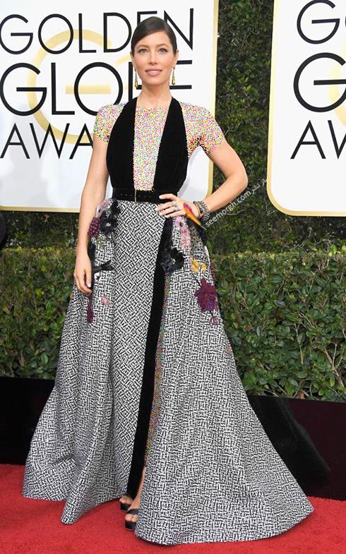 مدل لباس جسیکا بیل Jessica Biel در مراسم گلدن گلوب 2017