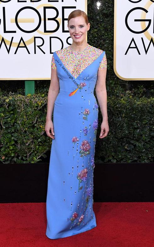 مدل لباس جسیکا چستین Jessica Chastain در مراسم گلدن گلوب 2017