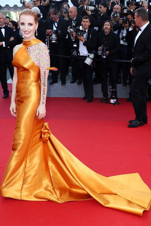 مدل لباس جسیکا چستین Jessica Chastin در هفتمین روز جشنواره کن 2017 Cannes