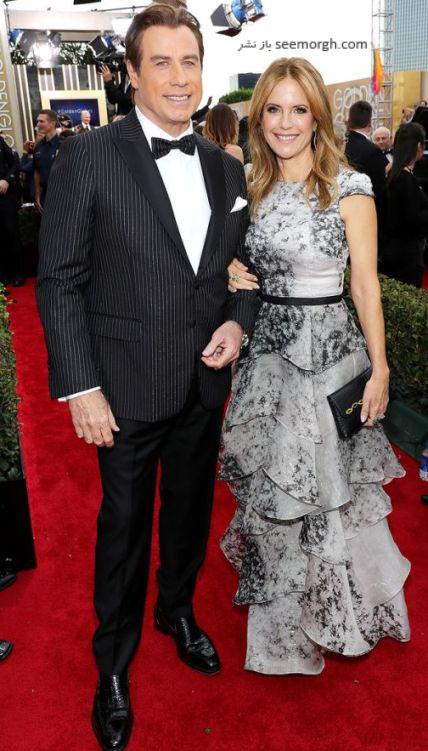 جان تراولتا و همسرش کلی پرستون در گلدن گلوب 2017