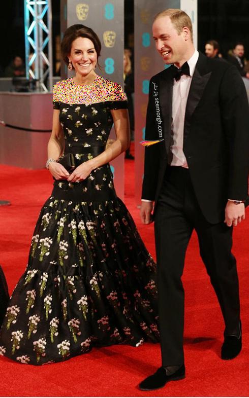 مدل لباس کیت میدلتون Kate Middletton در بفتا 2017 Bafta