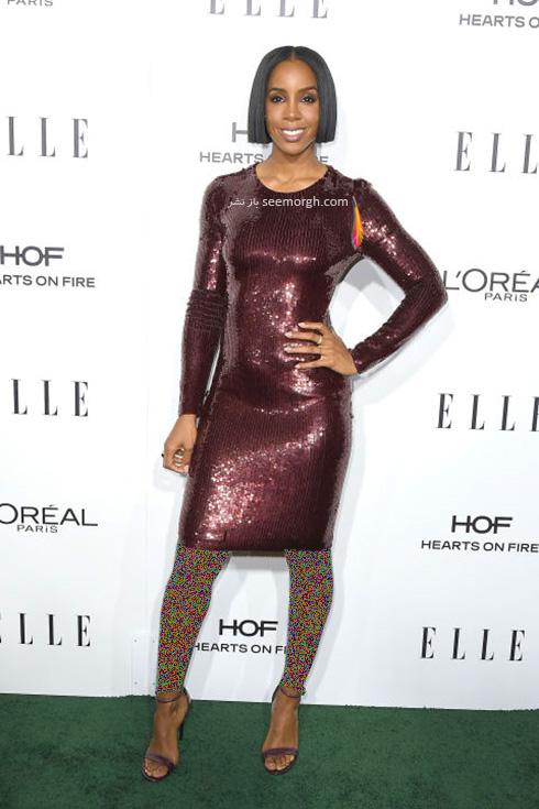 مدل لباس کلی رولند Kelly Rowland در میهمانی مجله ال Elle