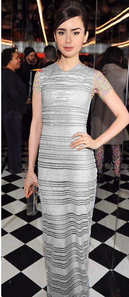 مدل لباس لیلی کالیز lily collins در میهمانی قبل از مراسم گلدن گلوب Golden Globe 2017
