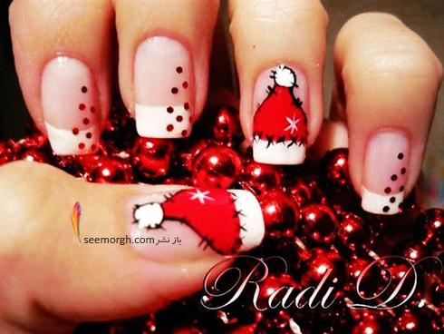 طراحی ناخن به شکل بابانوئل برای کریسمس - مدل شماره 3