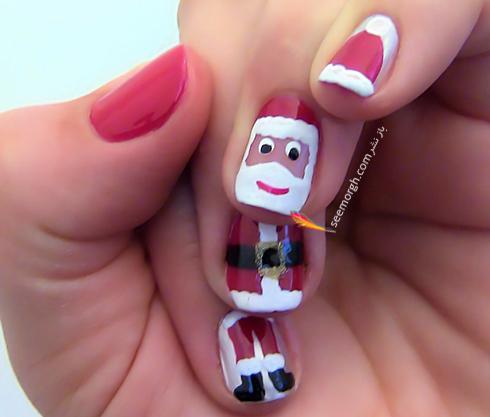 طراحی ناخن به شکل بابانوئل برای کریسمس - مدل شماره 8