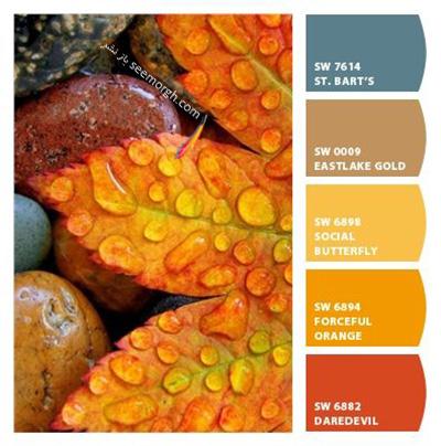 پالت رنگی شماره 10 با رنگ های تند پاییزی برای یک دکوراسیون داخلی جذاب
