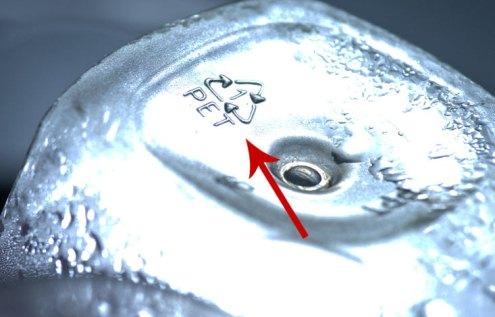 عدد۱ در زیر بطری های آب معدنی
