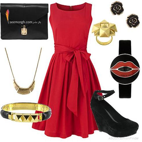 ست کردن لباس شب با ترکیب رنگی قرمز و مشکی - عکس شماره 1