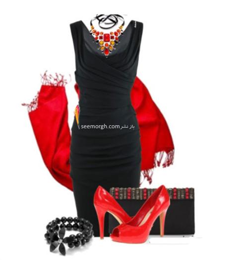 ست کردن لباس شب با ترکیب رنگی قرمز و مشکی - عکس شماره 11