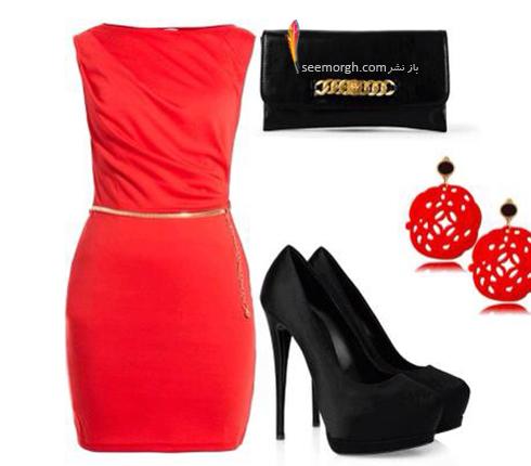 ست کردن لباس شب با ترکیب رنگی قرمز و مشکی - عکس شماره 10