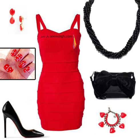 ست کردن لباس شب با ترکیب رنگی قرمز و مشکی - عکس شماره 9