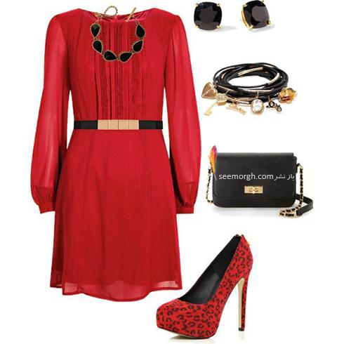 ست کردن لباس شب با ترکیب رنگی قرمز و مشکی - عکس شماره 8