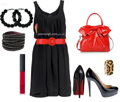 ست کردن لباس شب با ترکیب رنگی قرمز و مشکی - عکس شماره 7