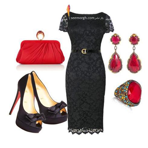 ست کردن لباس شب با ترکیب رنگی قرمز و مشکی - عکس شماره 6