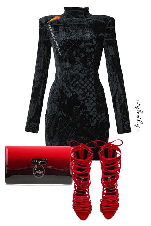 ست کردن لباس شب با ترکیب رنگی قرمز و مشکی - عکس شماره 2