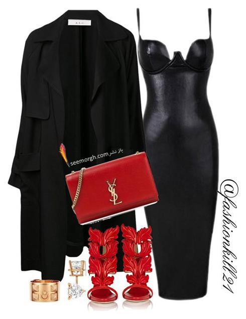 ست کردن لباس شب با ترکیب رنگی قرمز و مشکی - عکس شماره 3