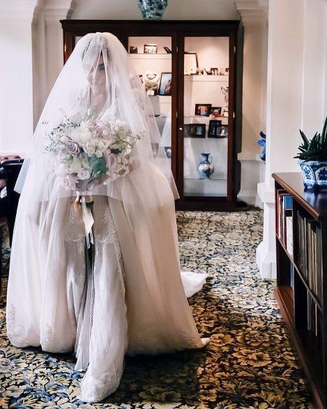 سروین بیات در لباس عروس