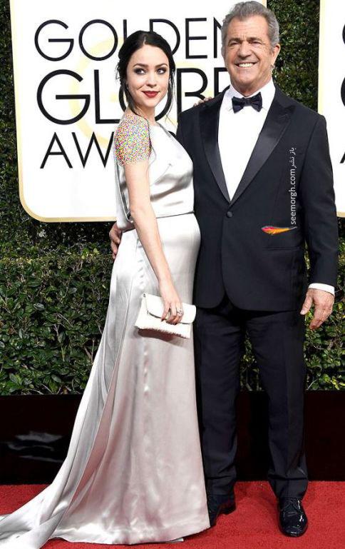 مل گیبسون و نامزدش در گلدن گلوب 2017