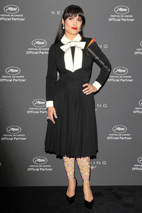 مدل لباس سلما هایک Salma Hayek در هفتمین روز جشنواره کن 2017 Cannes