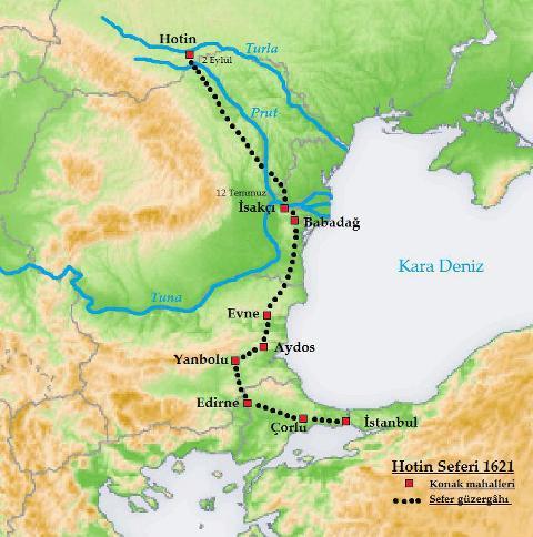 مسیر لشگرکشی عثمان دوم به لهستان، خوتین