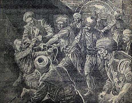 نگارهای از صحنه خفه کردن سلطان عثمان خان توسط ینیچریها در زندان یدیکوله