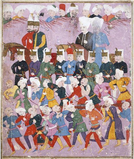 سلطان عثمان دوم به همراه وزیر داوود پاشا در صف ینیچریها و سپاهیان عثمانی، در راه خوتین برای جنگ با لهستان، سال ۱۶۲۱